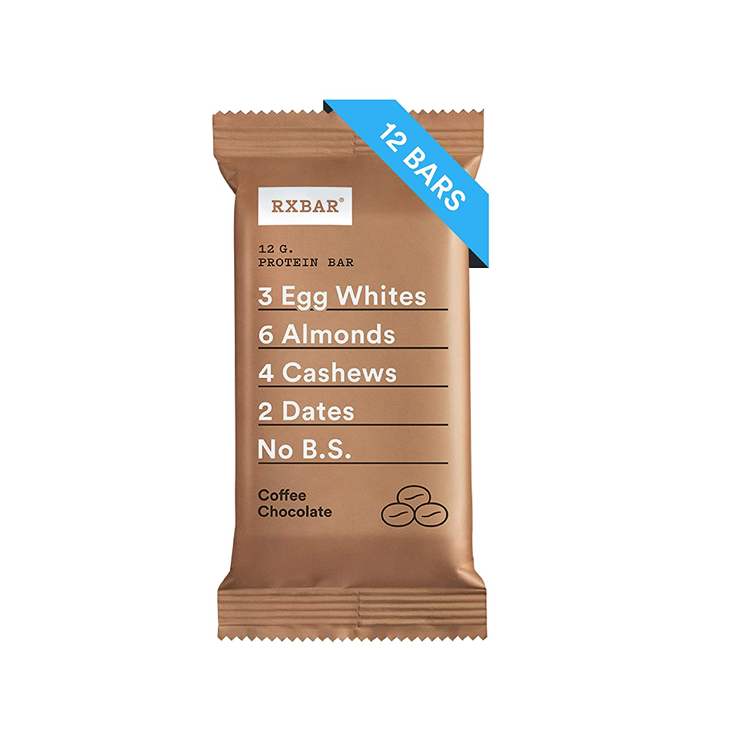 RXBAR, Coffee Chocolate, Protein Bar, 1.83 Ounce (Pack of 12) Breakfast Bar, High Protein Snack