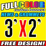 Personalised Banner, High Quality PVC Full Colour Custom Free Design, Digitally Printed Vinyl Outdoor Banners for Business, Advertising, Party, Birthday, Wedding (3' X 2')