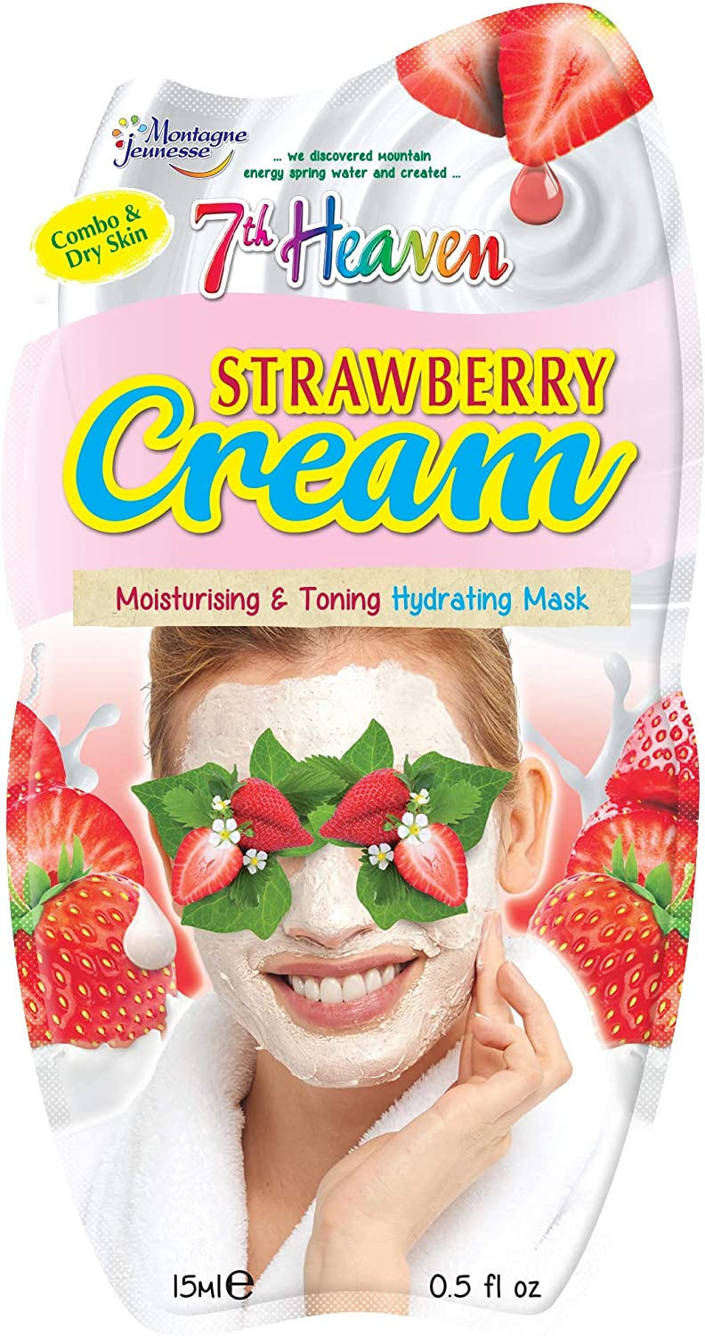 7th Heaven Strawberry Cream Hydrating Mask With Pulped Strawberries And Juiced Aloe Vera To Moisturise And Tone Skin Ideal For Dry And Combination Skin Amazon Co Uk Health Personal Care
