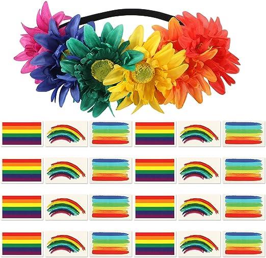 Gay Pride - Corona de flores para el pelo LGBT, pegatina para ...