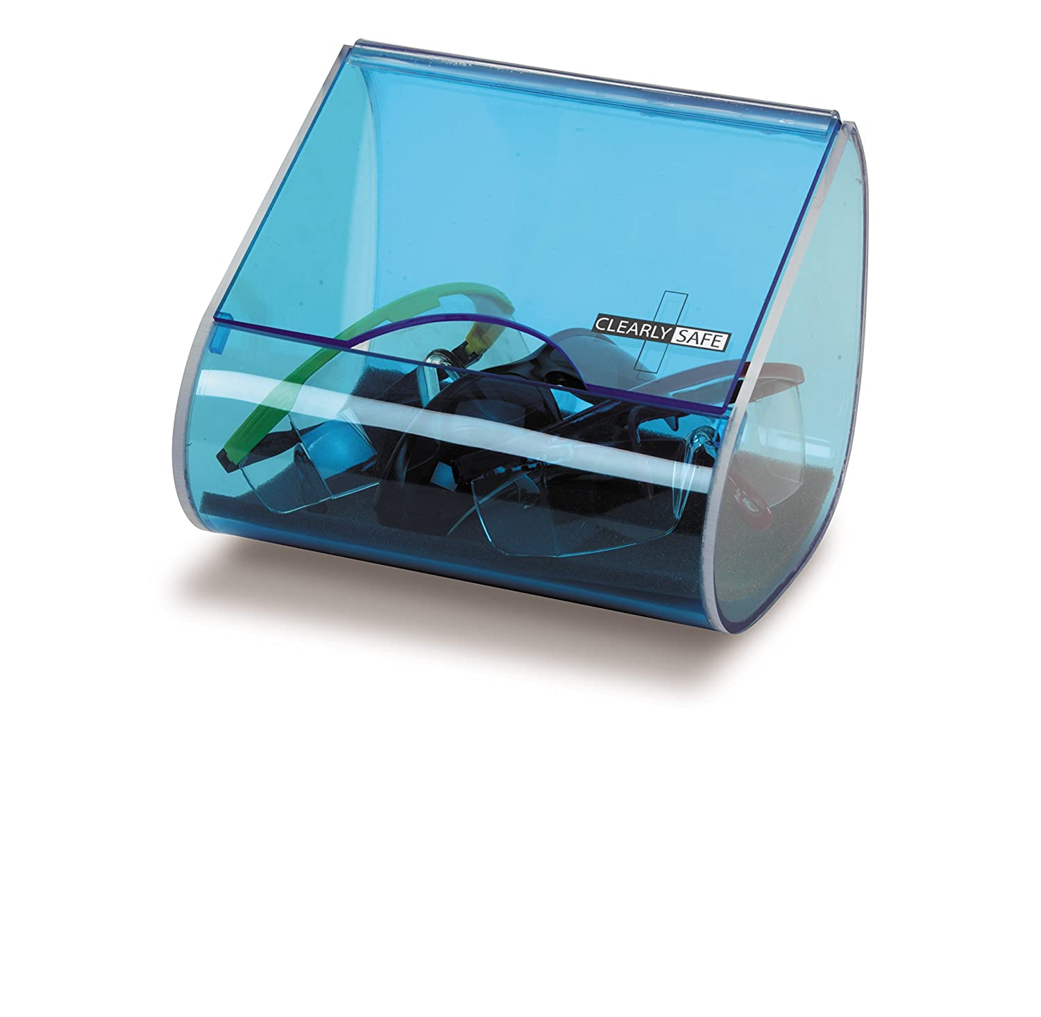 Heathrow Scientific HD1041 Acrylic Clearly Safe Small Safety Glasses Holder, 227 mm Length x 162 mm Width x 156 mm Height, Blue HS1041