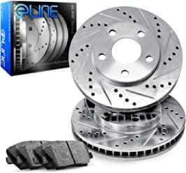 Fits 2005-2007 Ford Focus Front Rear Drill Slot Brake Rotors+Ceramic Pads