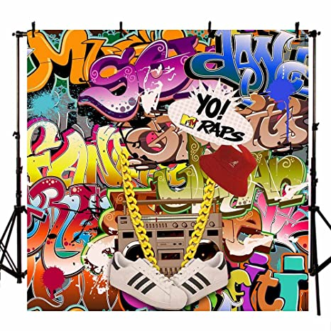 MEHOFOTO Photo Backgroud Fashion Graffiti Necklace Shoes Printed 80s 90s  Themed Party Decoration Backdrops for Photography 6 5x6 5ft(2x2m)