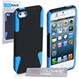 iPhone 5 / 5S Case Black / Blue Tough Mesh Combo Silicone Cover