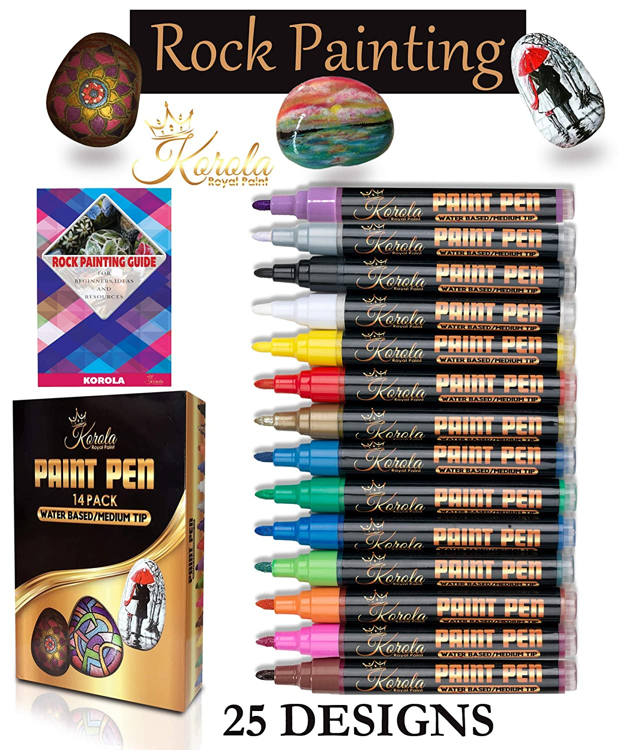 Paint Pens For Rock Painting, Ceramic, Porcelain, Glass, Wood, Metal, Fabric, Canvas And More. Set of 14 Acrylic Paint Markers Medium Tip