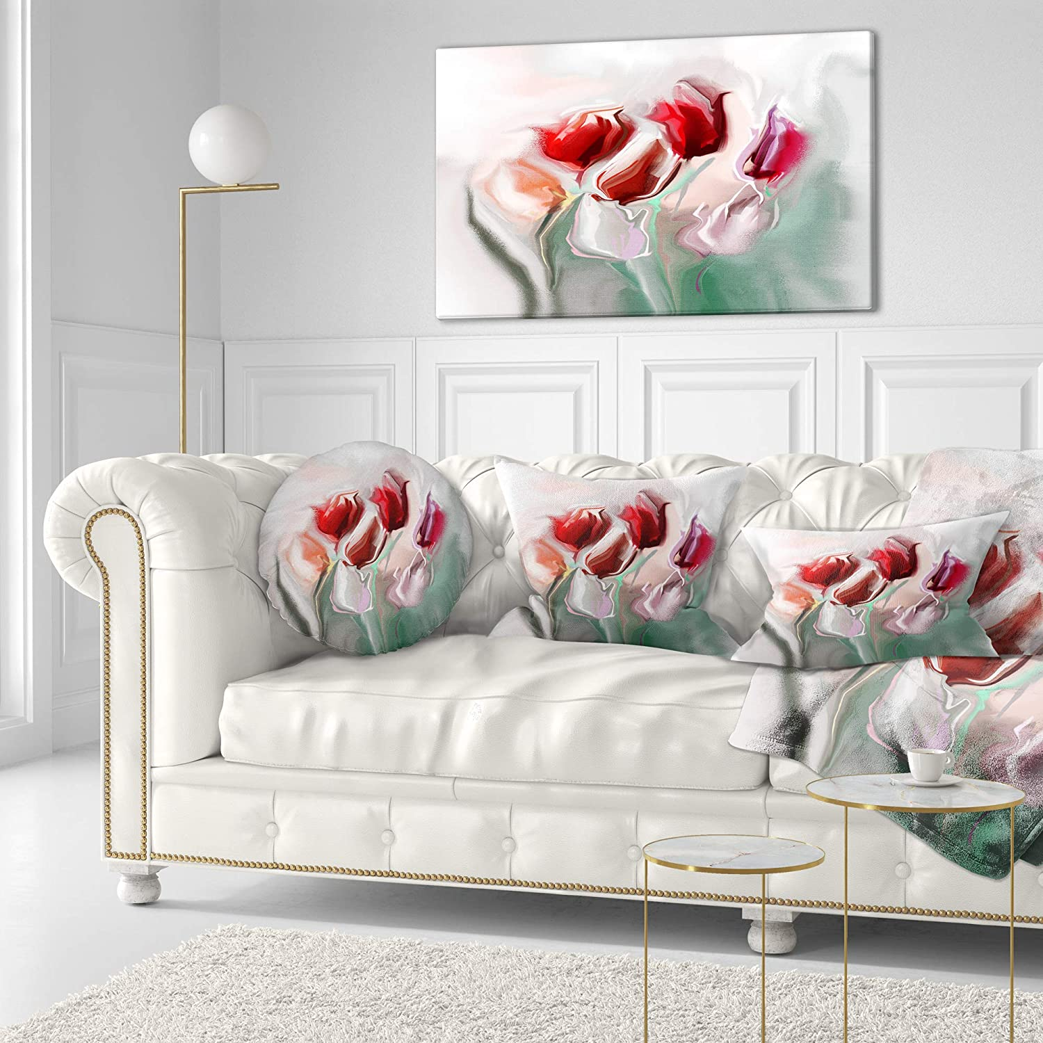 Sofa 20 Round Designart CU14385-20-20-C Floral Watercolor Illustration Animal Throw Cushion Pillow Cover for Living Room