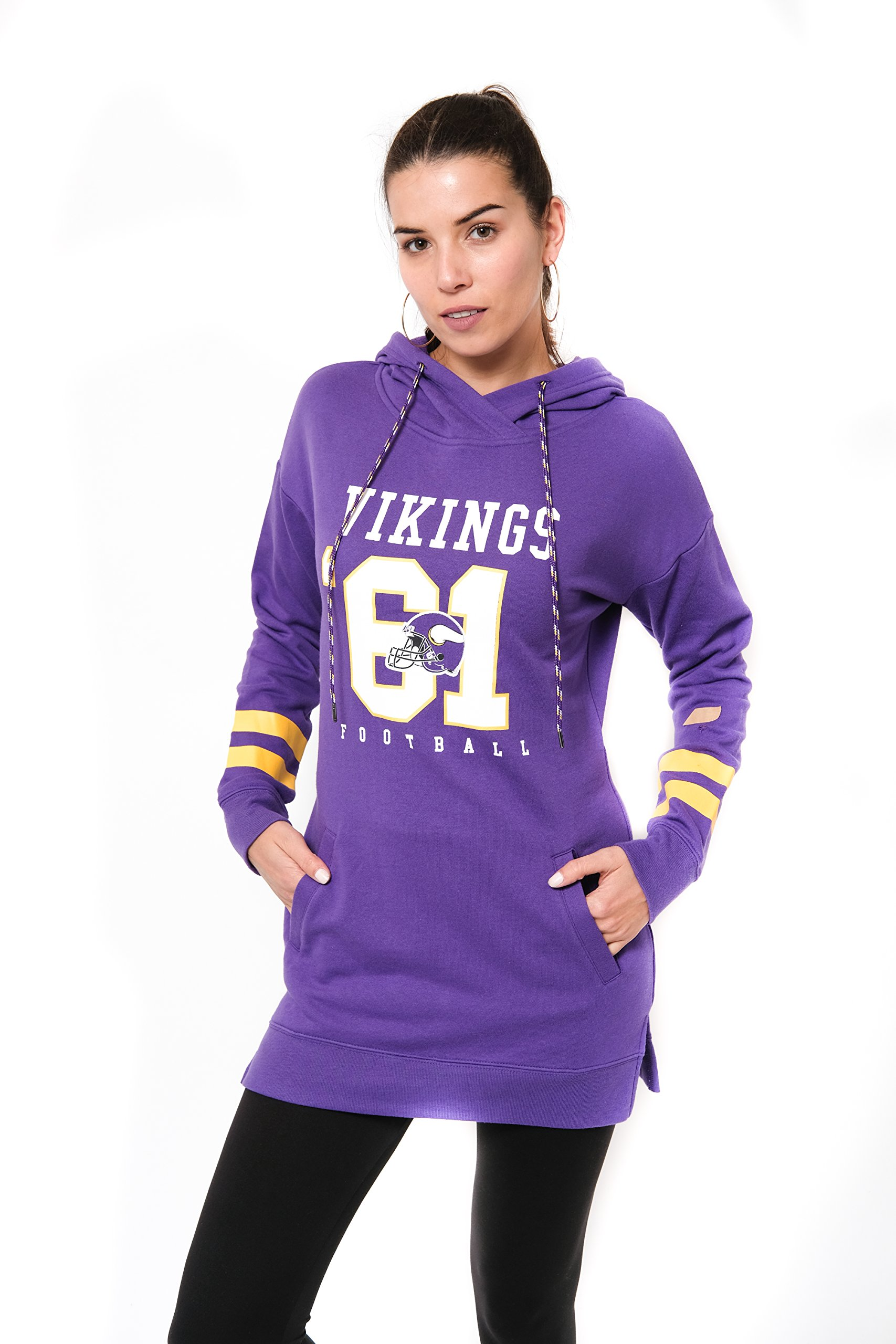 Ultra Game NFL Minnesota Vikings Women's Tunic Hoodie Pullover Sweatshirt Terry, Team Color, Purple, X-Large