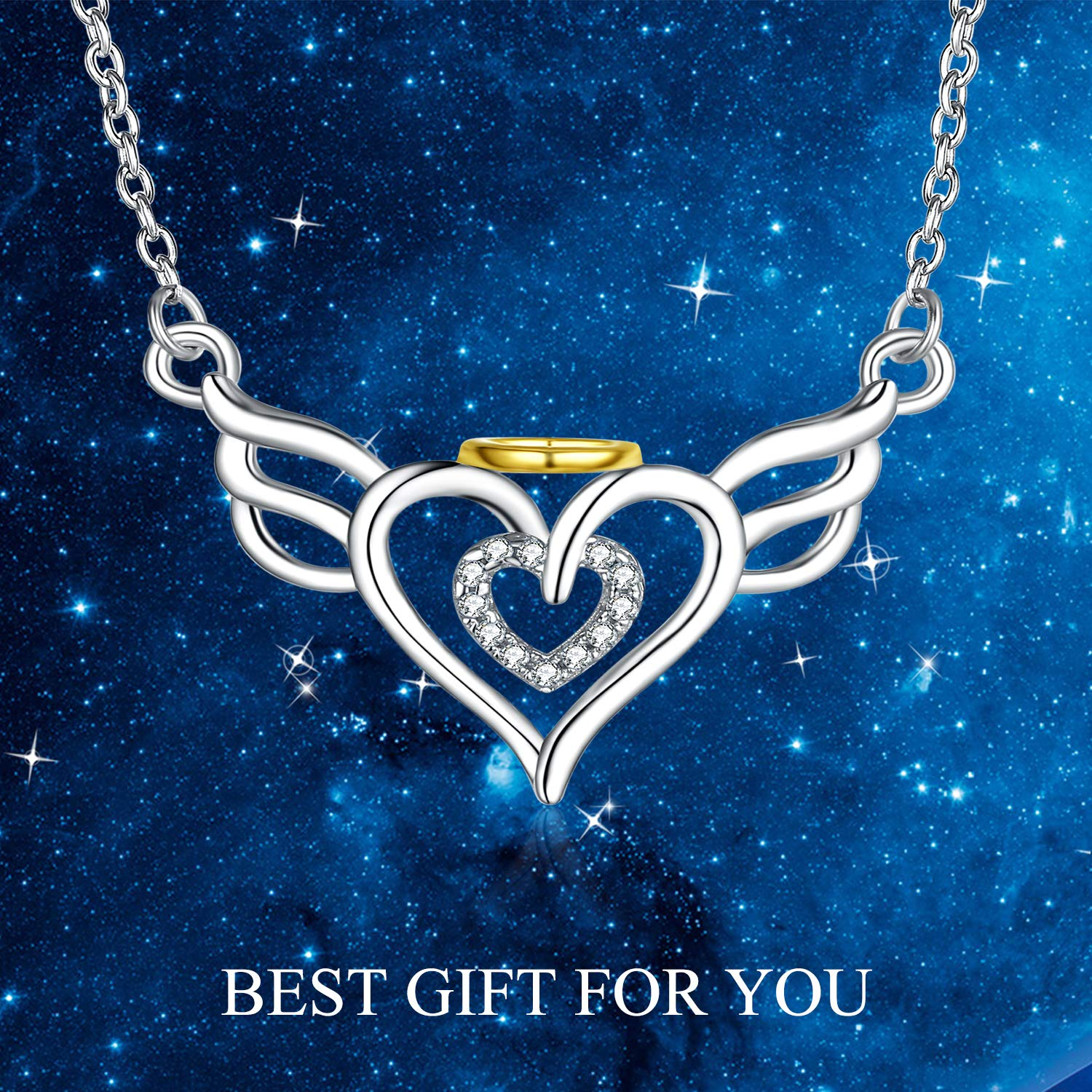 Sterling Silver Pendant Necklaces - Women 18k Gold Plated Charm Jewelry - Wings Heart by SISGEM (Image #2)