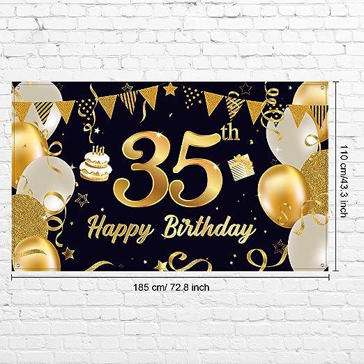 Happy 35 Birthday Party Dekorationen Extra Große Schwarz Gold 35 Geburtstag Party Banner Foto Hintergrund Für Männer Frauen 35 Geburtstag Jahrestag Party Dekor Zubehör 72 8 X 43 3 Zoll Alle Produkte