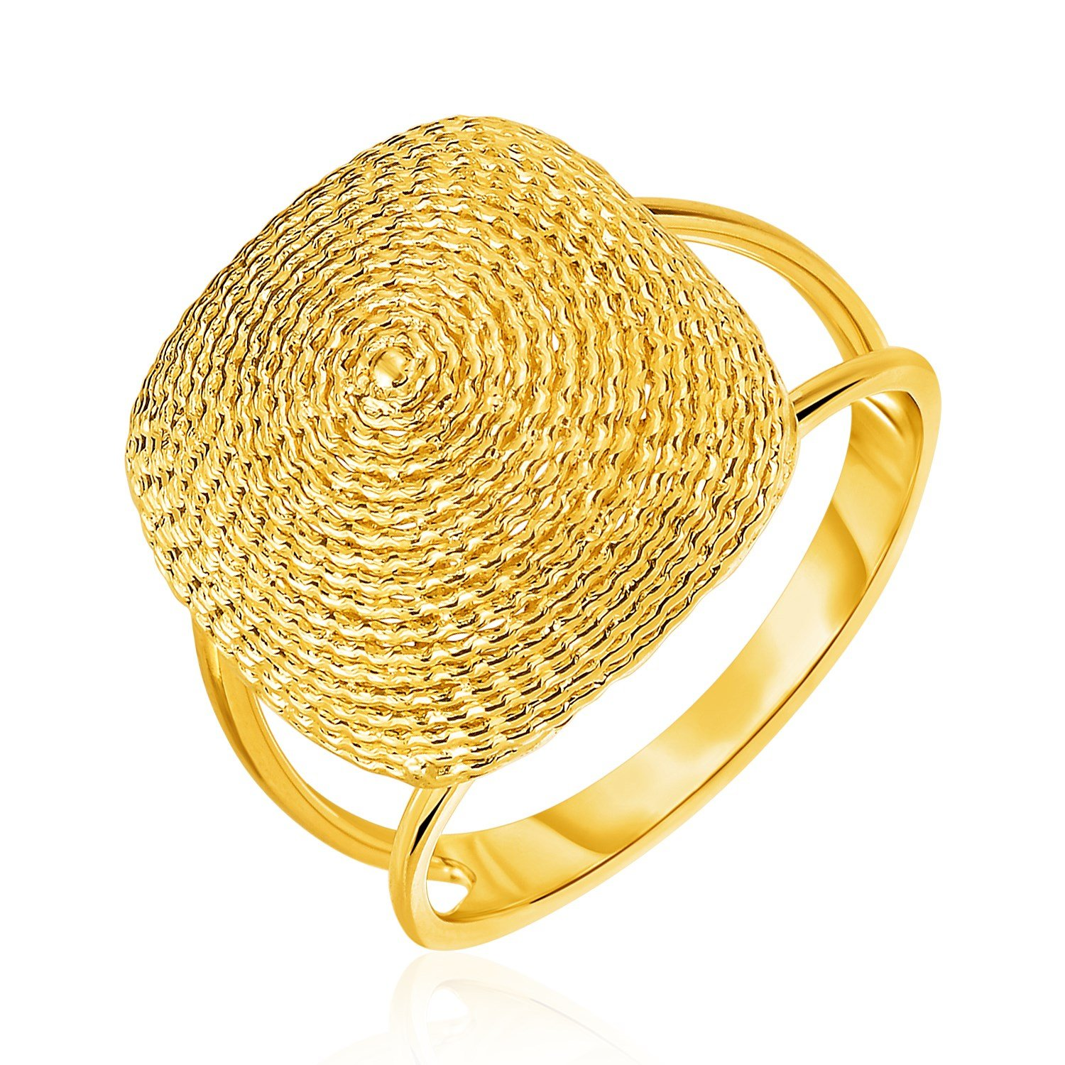 14K Yellow Gold Ring with Textured Semi-Square Dome Top by Diamond Designs (Image #1)