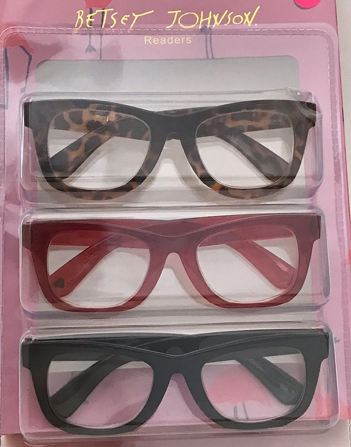 33f61ffa49a Amazon.com  Betsey Johnson Red Animal Print Reading Glasses 3 Pack Readers  (+1.50 Strength)  Health   Personal Care