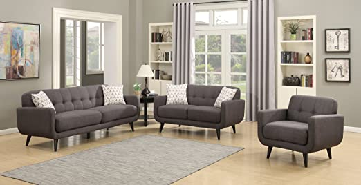 AC Pacific Crystal Collection Upholstered Charcoal Mid-Century 3-Piece  Living Room Set with Tufted Sofa, Loveseat, and Arm Chair and 4 Accent  Pillows, ...