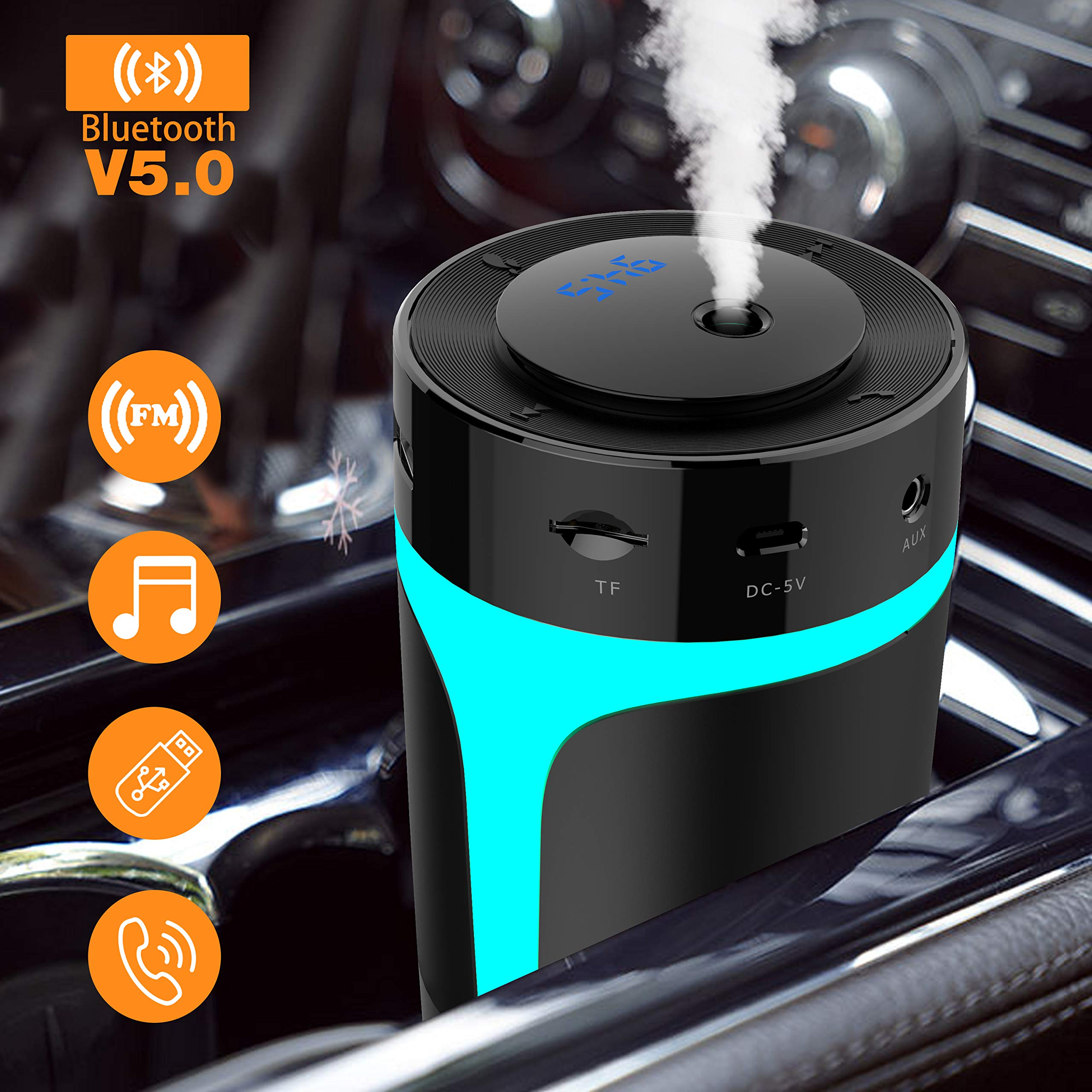 Bluetooth FM Transmitter for Car with USB Portable Car Humidifier,Wireless FM Transmitter Radio Adapter Car Kit with Hands Free Calling,USB Charging Ports,U Disk,TF Card,MP3 Music Player,7 Color,300ml