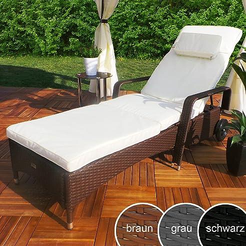 Amazon.de: Rattan Garten Liege Relax Polyrattan Gartenliege ...