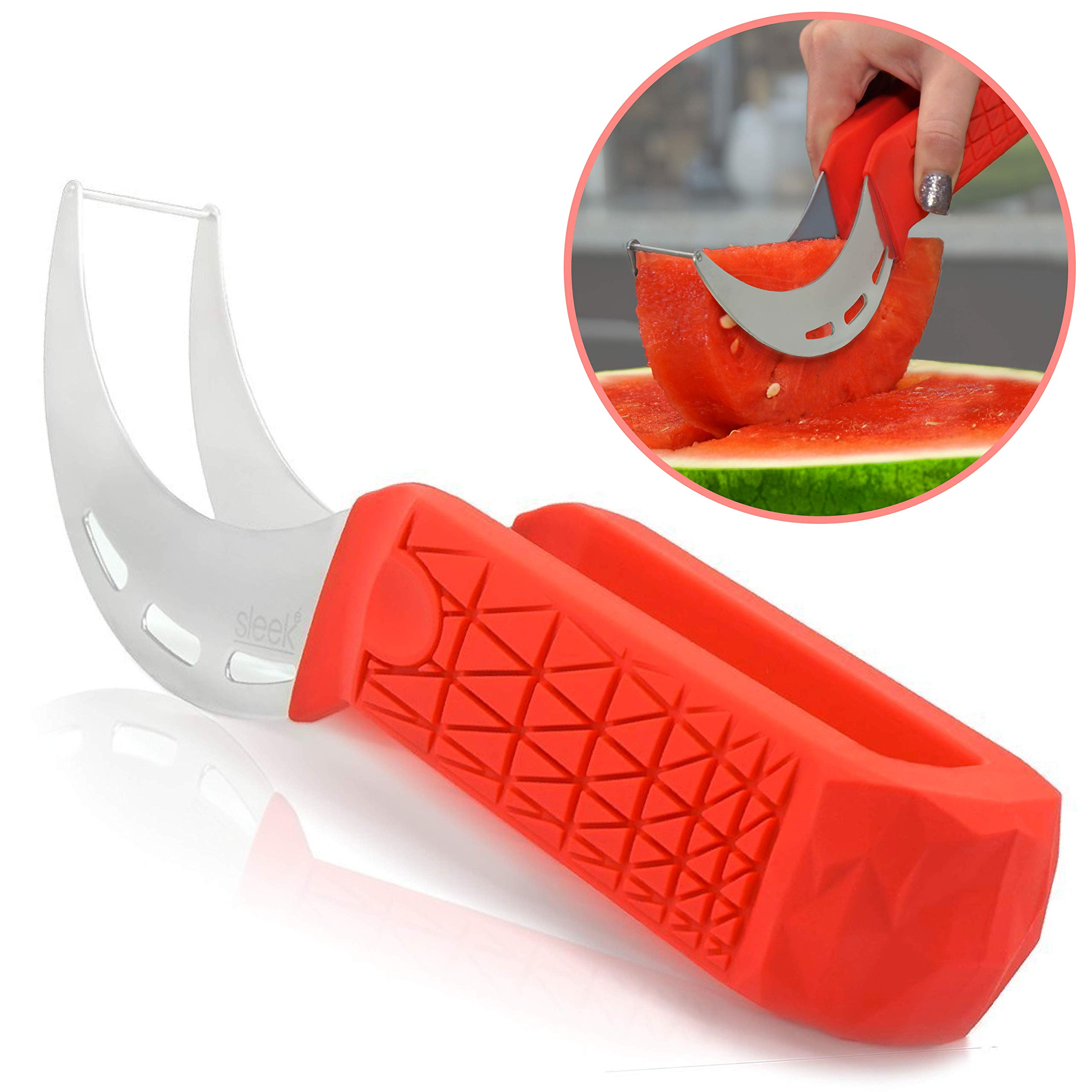 Watermelon Slicer & Cutter by Sleeké - New Extended Silicone Cushioned Handle Made to Slice and Serve with Ease - Stainless Steel - No Mess, Less Stress by Sleeké