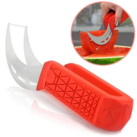 Watermelon Slicer & Cutter by Sleeké - New Extended Silicone Cushioned  Handle Made to Slice and Serve with Ease - Stainless Steel - No Mess, Less