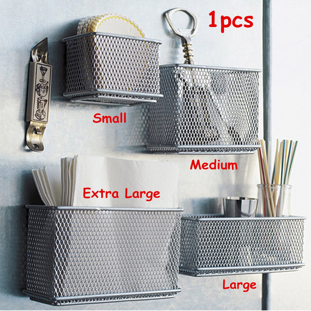 Caveen Wire Mesh Magnetic Storage Basket Tray Metal Desk Caddy Storage Organizer For Refrigerator Whiteboard Silver XL