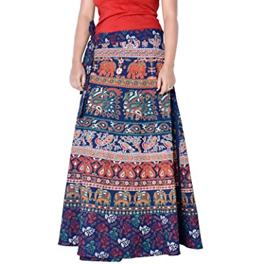 39d310071d Sttoffa Indian Mandala Block Print Cotton Peasant Boho Gypsy Summer Skirts  Blue Color Free Size Skirt