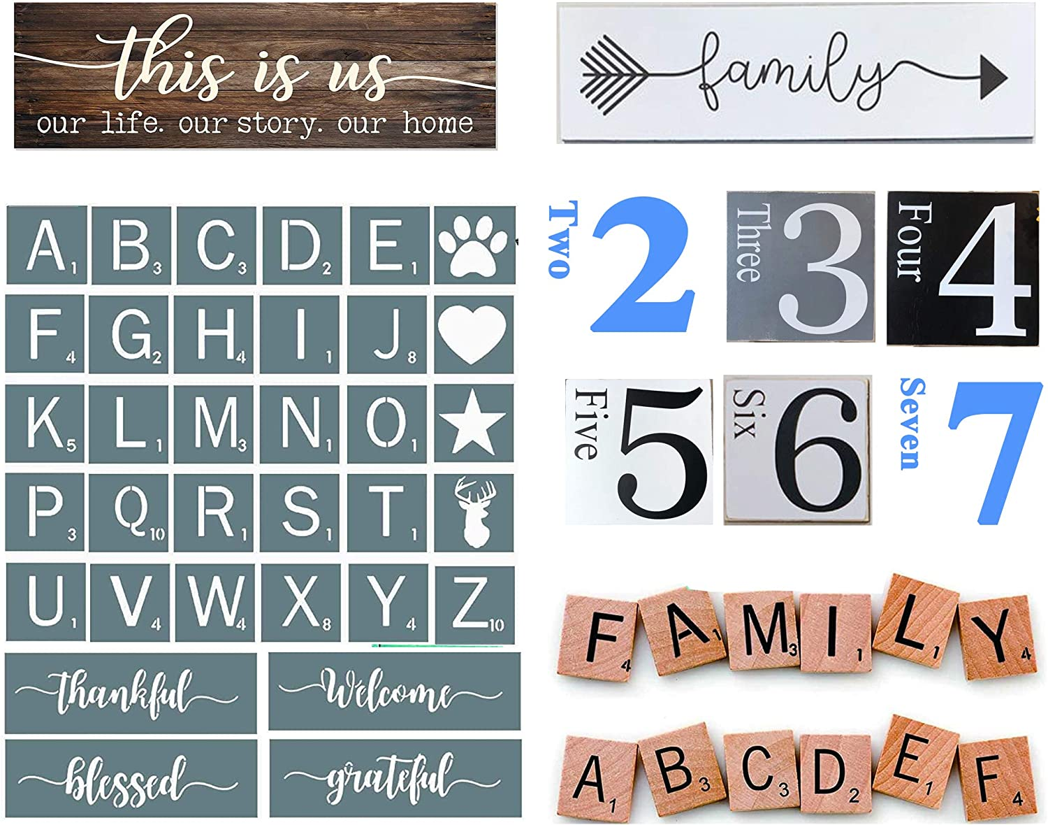 Scrabble Letters Stencil Set, Welcome Stencil for Painting on Wood, Stencil for Scrabble Wall Tile Family Wall Art, Rustic Wall Decor (4x4