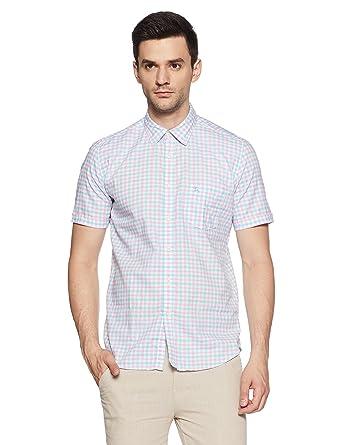5d41fbc717 Parx Half Sleeve Regular Collar Slim Fit Medium Blue Cotton Checks Shirt  for Men