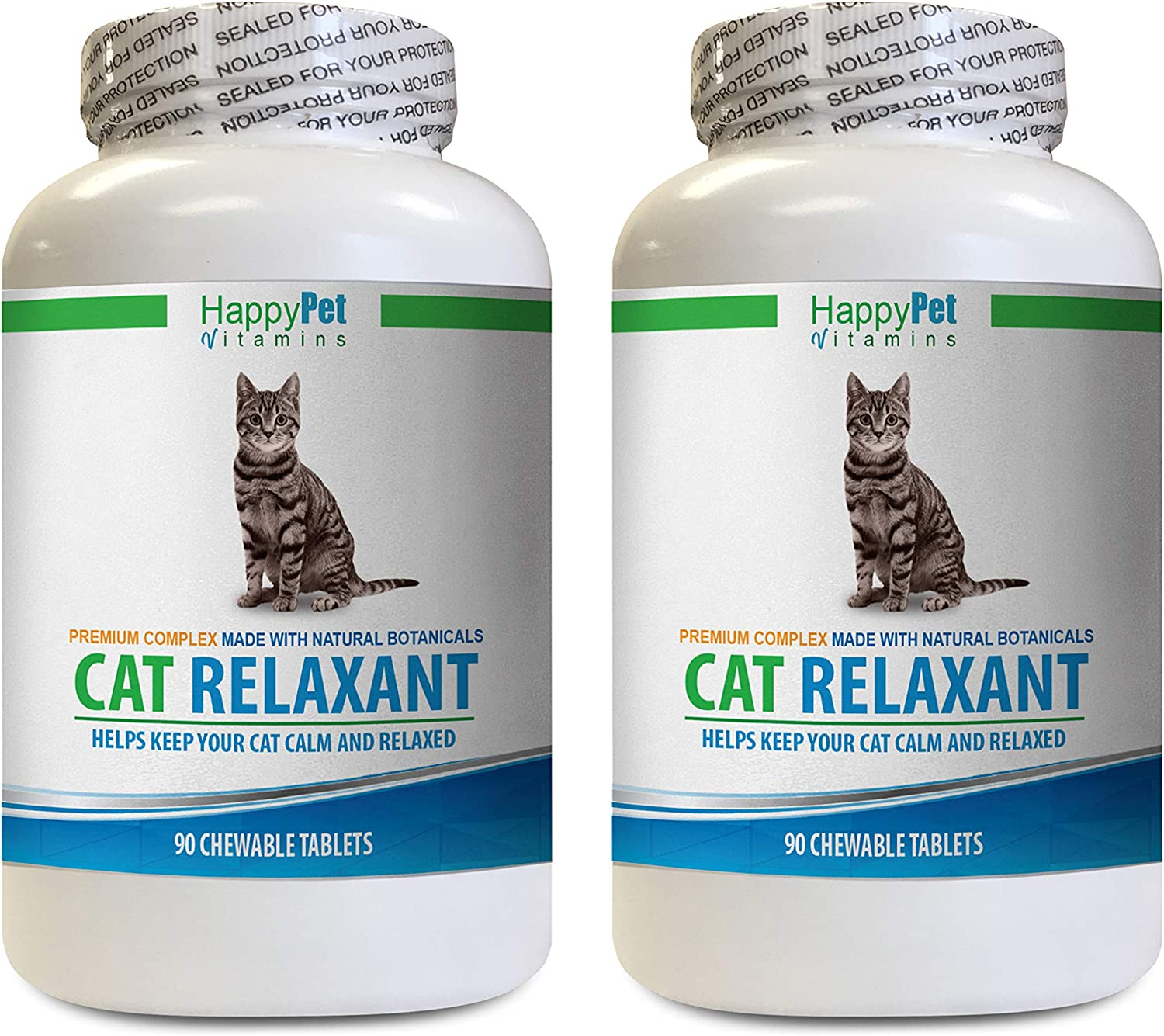 cat Calm Treats - CAT Relaxant - Anxiety and Stress Relief - Natural Calmer - Premium - l tryptophan for Cats - 2 Bottles (180 Chewable Tabs)