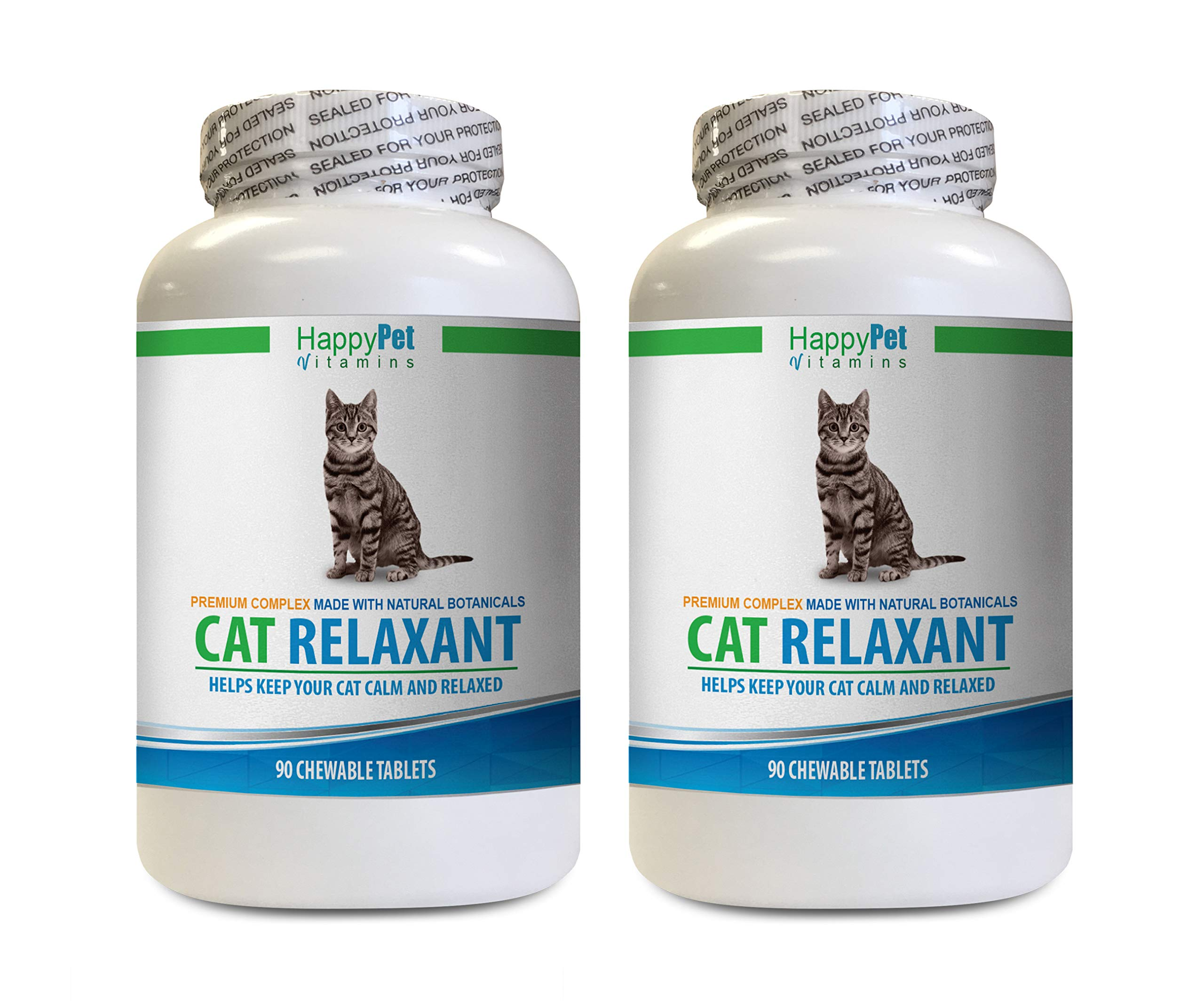 HAPPY PET VITAMINS LLC cat Calming - CAT Relaxant - Anxiety and Stress Relief - Natural Calmer - Premium - Valerian Seeds for Cats - 2 Bottles (180 Chewable Tabs) by HAPPY PET VITAMINS LLC