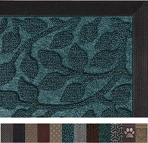 Gorilla Grip Original Durable Rubber Door Mat, 47x35, Heavy Duty Doormat for Indoor Outdoor, Waterproof, Easy Clean, Low-Profile Rug Mats for Winter Snow, Entry, High Traffic Areas, Green Vine Leaves