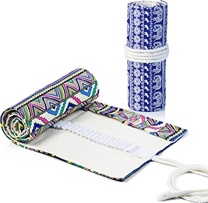 Comius Sharp 2 Piezas Lona Bolso para Lápices con 72 Agujeros, Estuche Enrollable para Lápices Portalápices de Lona Organizador para Envolver Lápices Lápiz, Escuela, Oficina (Estilo 1): Amazon.es: Oficina y papelería