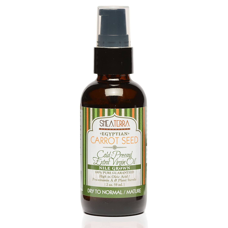 Shea Terra Organics Egyptian Carrot Seed Cold Pressed Extra Virgin Oil | Dry Skin Treatment, Vitamin C Serum, Vitamin E Oil | Dry/Mature Skin Types - 2 oz