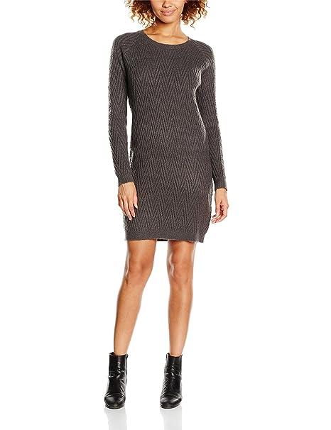 Vero Moda VMPOSH LS Dress Noos, Vestido Mujer, Gris (Dark Grey Melange), 42 (Talla del Fabricante: X-Large)
