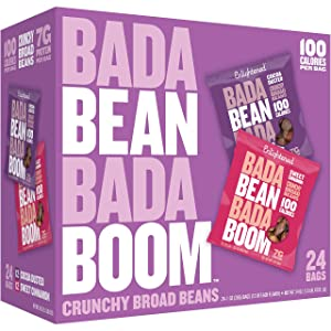 Enlightened Bada Bean Bada Boom Plant-based Protein, Gluten Free, Vegan, Non-GMO, Soy Free, Kosher, Roasted Broad Fava Bean Snacks, The Sweet Box Variety Pack, 1 Ounce (24 Count)