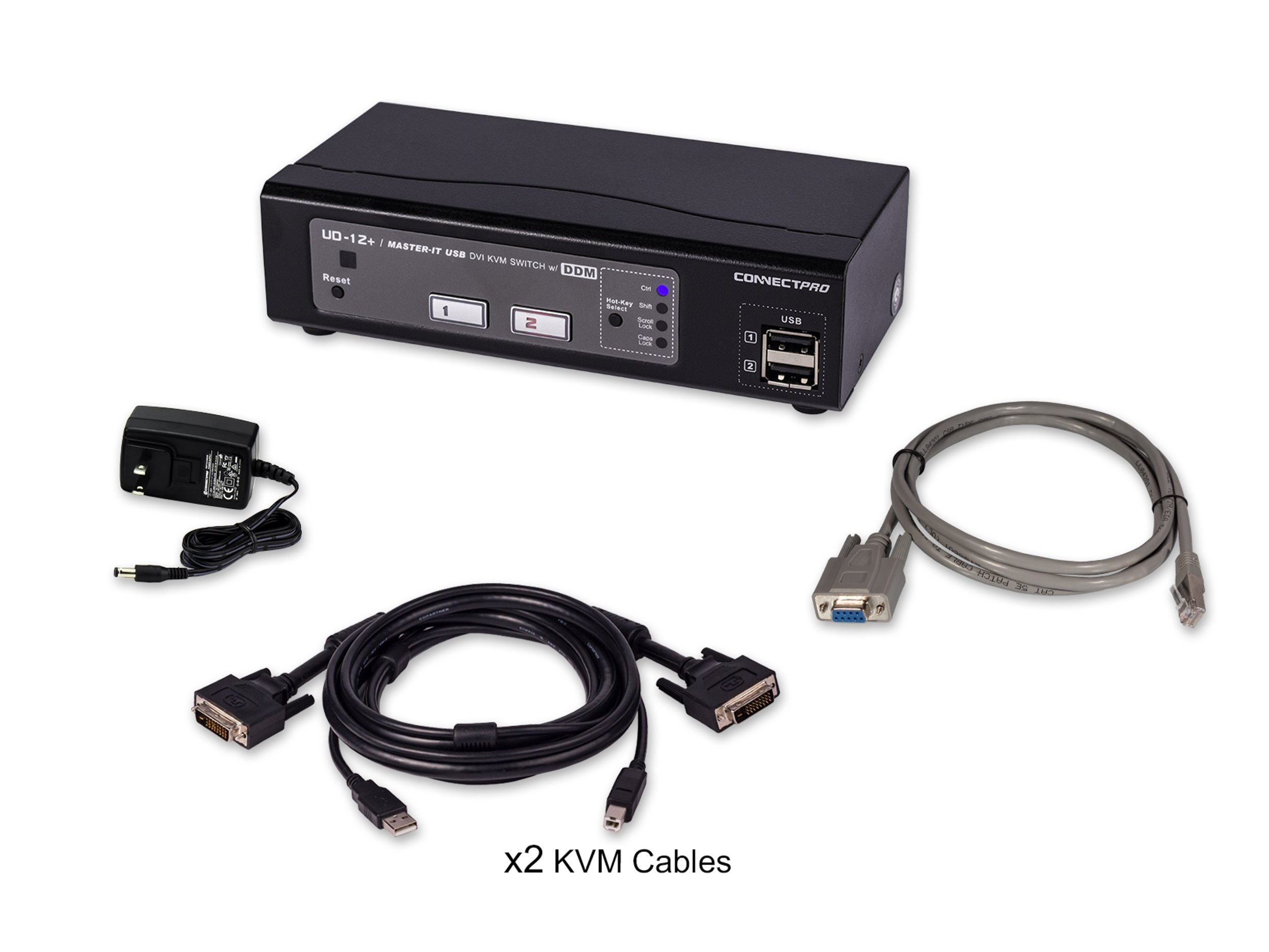 ConnectPRO UD-12+KIT, 2-port USB DVI KVM switch w/ DDM & multi-hotkey by ConnectPRO (Image #4)