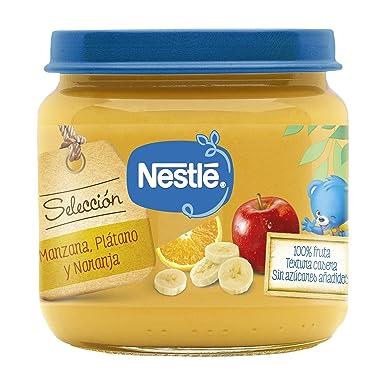 NESTLÉ SELECCIÓN tarrito de puré de fruta, variedad Manzana, Plátano y Naranja, para