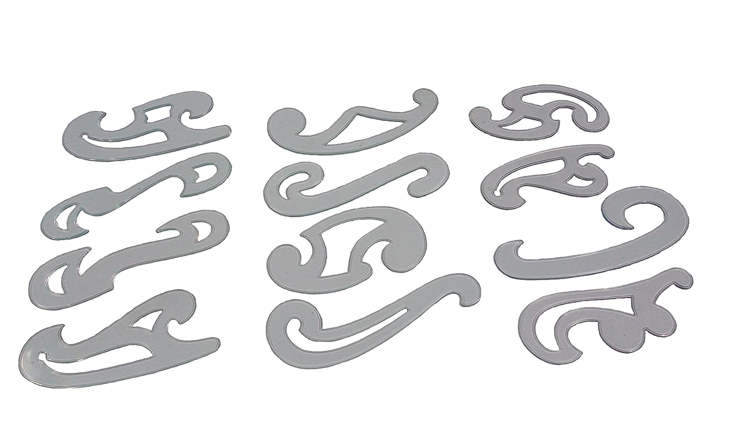 PARTH IMPEX French Curve Set of 12 Clear Plastic Inking Edges ...