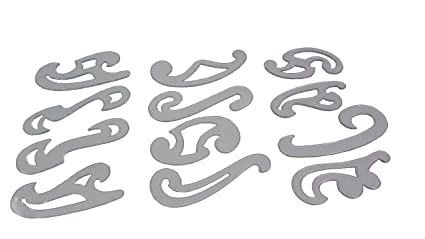 amazon com parth impex french curve set of 12 clear plastic inking
