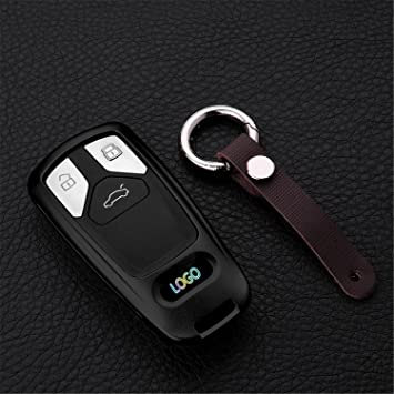 AUDI TT Quality Black Real Leather Keyring