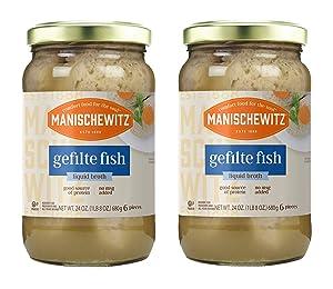 Manischewitz Gefilte Fish in Liquid Broth, Kosher for Passover, 24-ounce (Pack of 2)