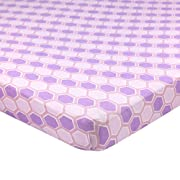 Abstract Fitted Crib Sheet for Mini and Portable Cribs - 24  x 38  - Ultra Soft, 100% Jersey Knit Cotton - Hypoallergenic Nursery Bedding - Honeycomb Lavender