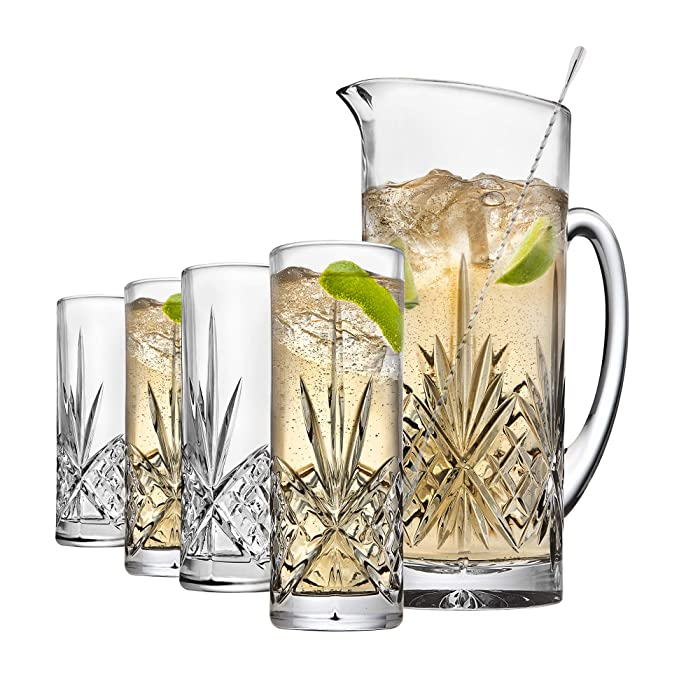 Godinger Barware Beverage Set - Mixing Pitcher Carafe, Stirrer and 4 Collins Tall Drinking Glasses - Dublin Collection