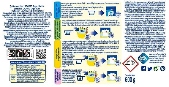 Lagarto Quitamanchas Ropa Blanca - Paquete de 6 x 600 gr - Total: 3600 gr: Amazon.es: Salud y cuidado personal
