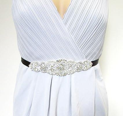 Plata Diamante Negro Cuentas cinturón Vestido de charlestón gran Gatsby Vintage 1026 * Exclusivamente Se Vende