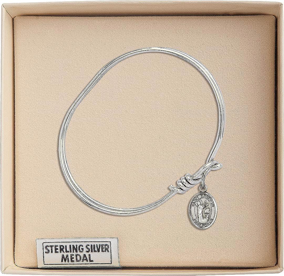 St Kenneth Charm On A Child Sized 5 3//4 Inch Oval Eye Hook Bangle Bracelet