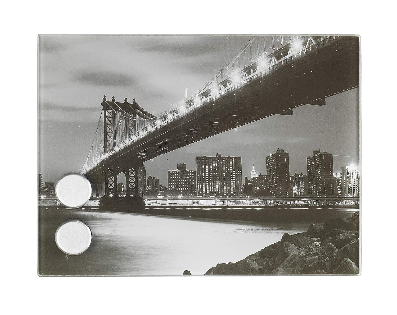 20 x 15 cm Wenko 50472100 Manhattan Bridge-Scatola portachiavi magnetico con 7 ganci in vetro Multicolore