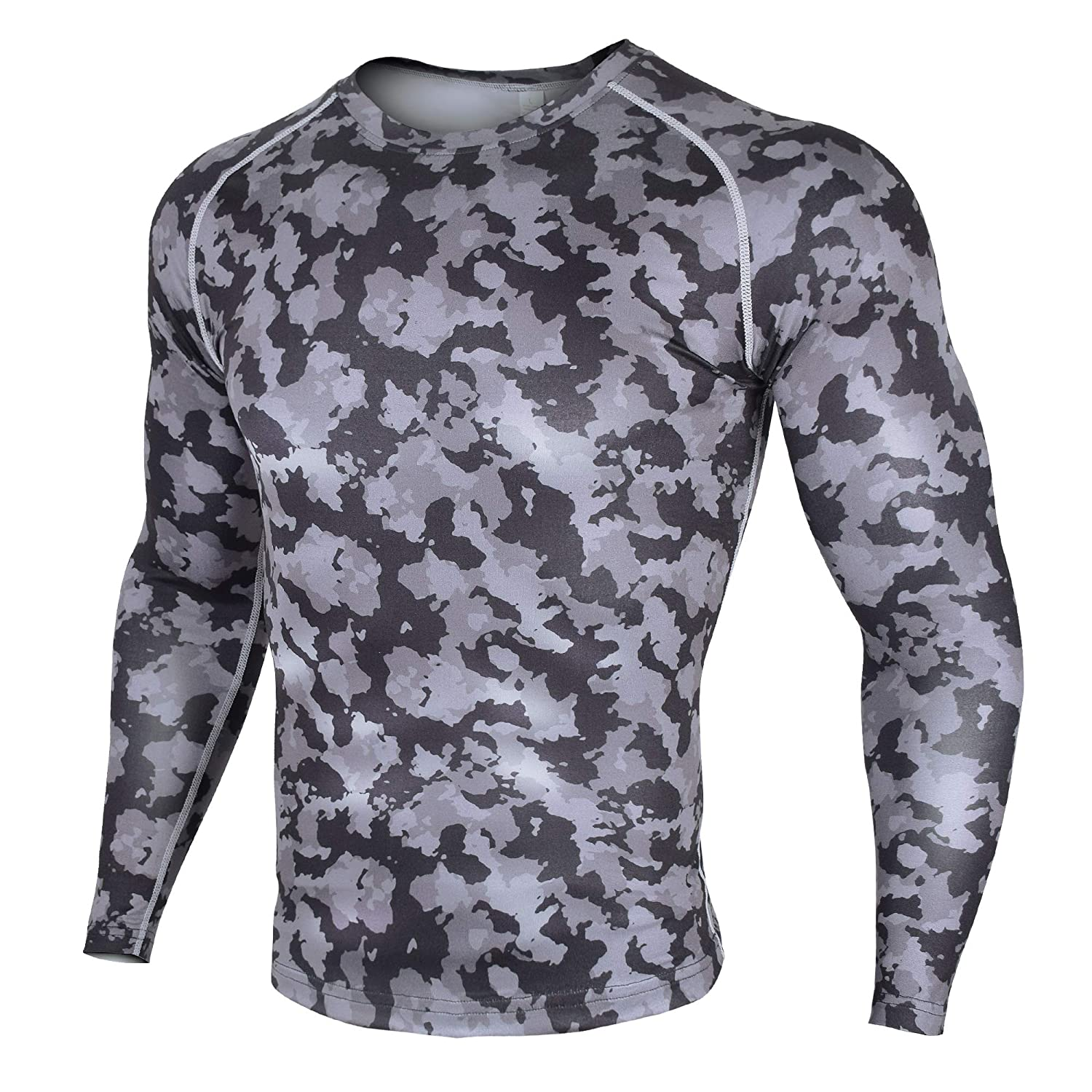 Xtextile Mens Compression Camouflage Undershirt Cool Dry Baselayer Long Sleeve Shirts