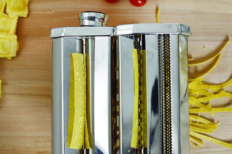 Maurys Sfogliatrice Macchina Per La Pasta Fresca Fatta in Casa allUovo per Fettuccine Tagliolini Funzionamento Manuale a Manovella Larghezza 150mm 9 Tagli in Acciaio e Rullo In Alluminio