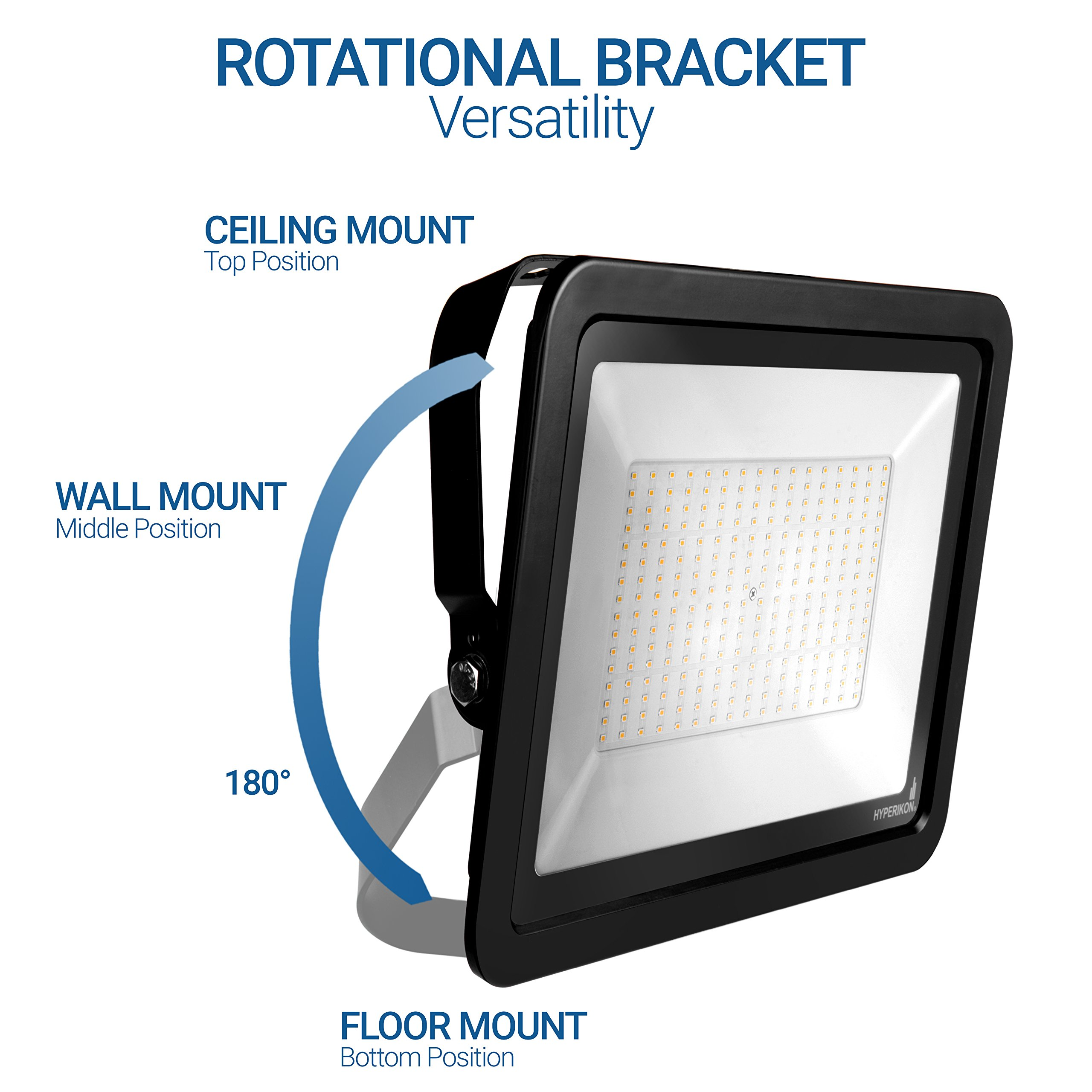 Hyperikon LED Flood Light 200W (1000 Watt Eq.) 180° Rotatable Bracket, 5000k,16000 Lm, Super Bright Outdoor LED Floodlight, Weatherproof IP65, Suitable for Dry and Damp Locations, 110V, 2-Pack by Hyperikon (Image #6)