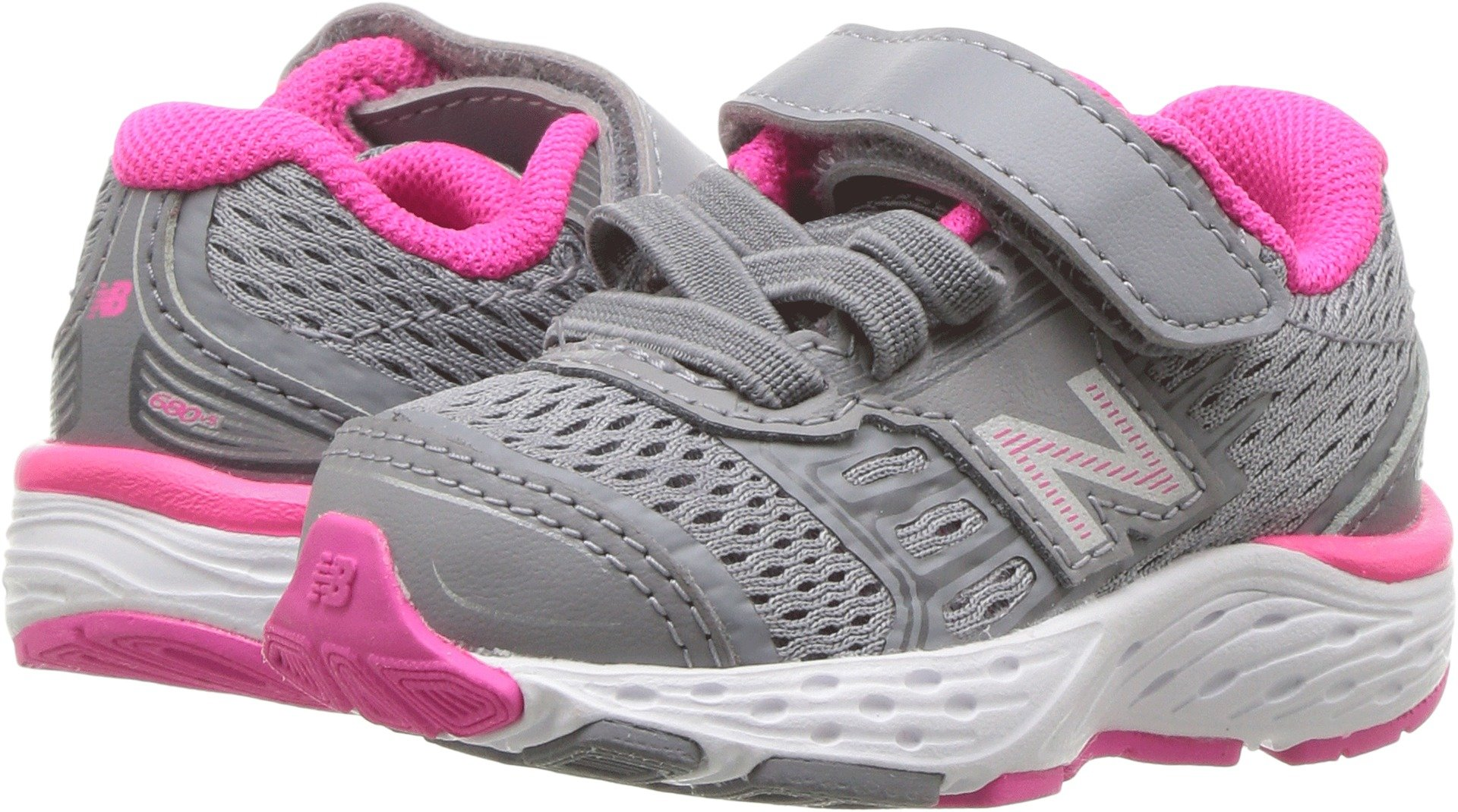 New Balance Girls' 680V5 Hook and Loop Running Shoe, Steel/Pink Glo, 8 M US Toddler