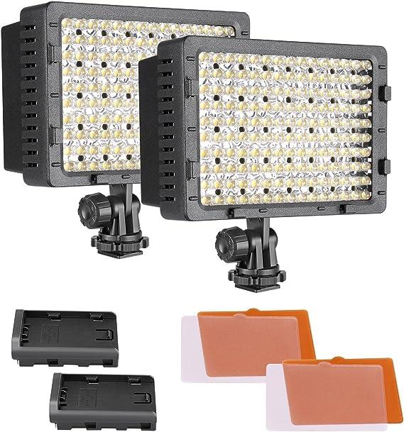 Neewer 2-Paquete 216 LED Luz de Video Regulable con 4 Filtros de Color Blanco y Naranja para Cámaras Canon, Nikon, Pentax, Panasonic, Sony, Samsung y Olympus DSLR Videocámaras: Amazon.es: Electrónica