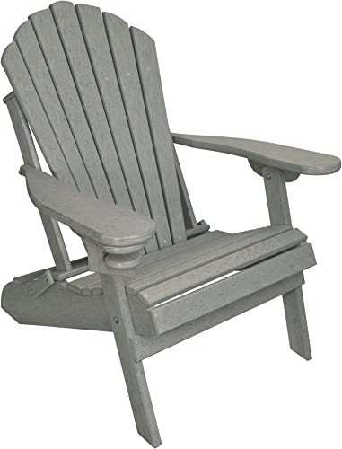 Outer Banks Deluxe Oversized Poly Lumber Folding Adirondack Chair Driftwood Gray