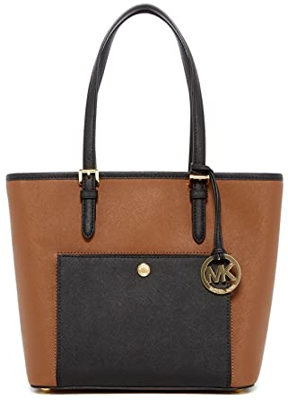 3597d16d787a Amazon.com  MICHAEL Michael Kors Medium Snap Pocket Jet Set Leather Tote ( Dark Camel Black)  Clothing